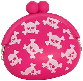 Multipurpose Mini Silicone Coin Purse Bag Headphone Earphone Pouch Case - Pink colour Printed (1pc)