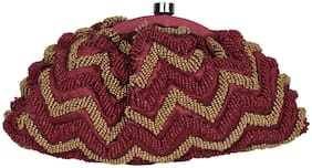 5-Elements Women Embellished Polyester - Clutch Maroon