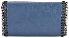 Kazo Women Solid Faux Leather - Clutch Blue