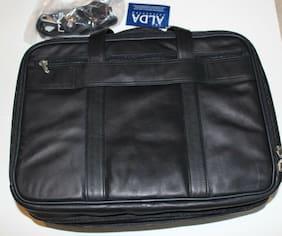 New Alda Black Leather Attache Business Briefcase Laptop Pocket Expandable