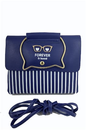 New Style PU Sling Bag For Girls (Blue)