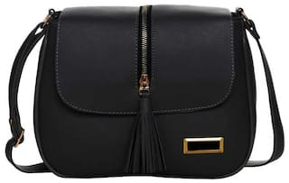 nariox Black PU Solid Sling Bag