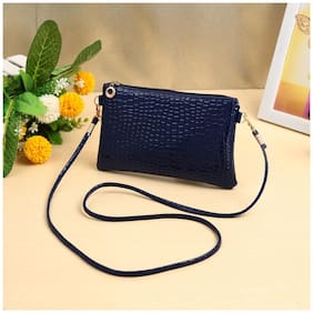 New Women Small Shoulder Bag PU Leather Crocodile Patten Zipper Crossbody Bag Purse Dark Blue