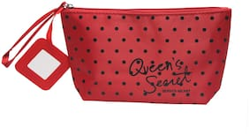 NFI essentials Polyester Red Cosmetic Vanity Travel Stationery Jewellery Pouch