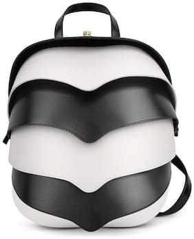 Notch Black & White Leather Backpack