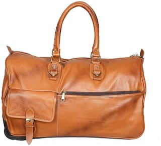 Buy Obani Genuine Leather Trolley Duffel Bag Tan Online at Low ... fd1547b5635d2