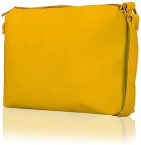 Lost & Found Women Solid Faux Leather - Sling Bag Yellow