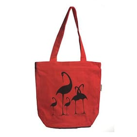 Orange Bunch Canvas Women Handheld Bag - Red