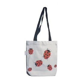 Orange Bunch Canvas Women Handheld Bag - White