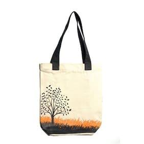 Orange Bunch White Canvas Shoulder Bag