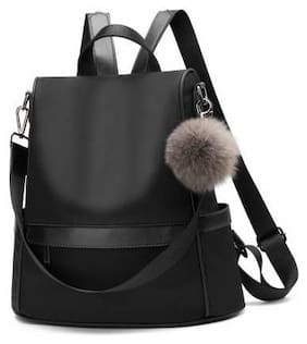 Overnice Black Faux Leather Backpack