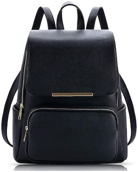 Overnice Black PU & Faux Leather Backpack