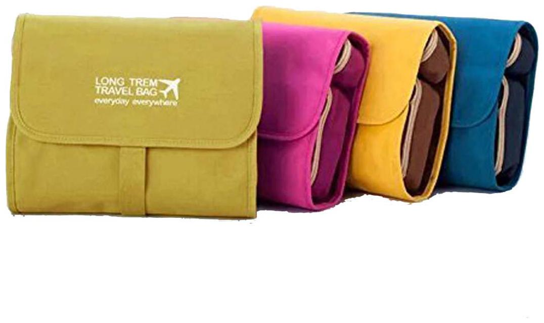PackNBUY Folding Hanging Cosmetics Travel Organizer for make up kits toiletry pouch bags   YELLOW Color by Swadec