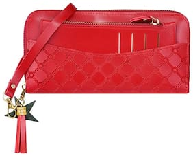 Palaki Women Red Leather Clutch