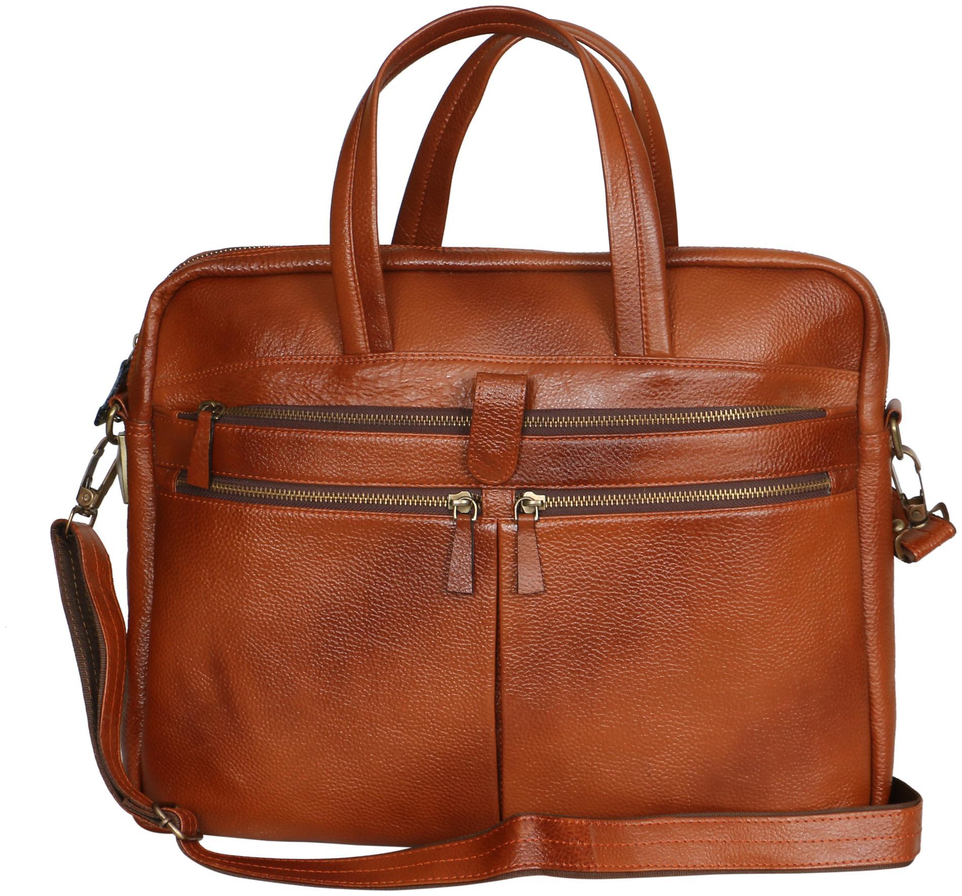 Pare Unisex 15 inch Leather Laptop Messenger Bag by PARE