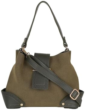 People Green PU Solid Sling Bag