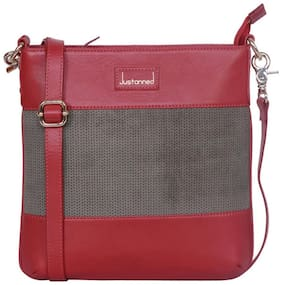 Justanned Women Solid Leather - Sling bag Red