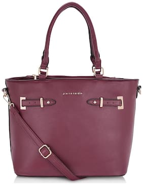 Pierre Cardin Women Solid PU - Tote Bag Maroon