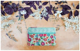 Pinaken Hello Sunshine Embroidered & Embellished Two Zipper Pouch
