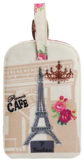 Pinaken Paris Cafe  Embroidered & Embellished Multicolor Luggage Tag