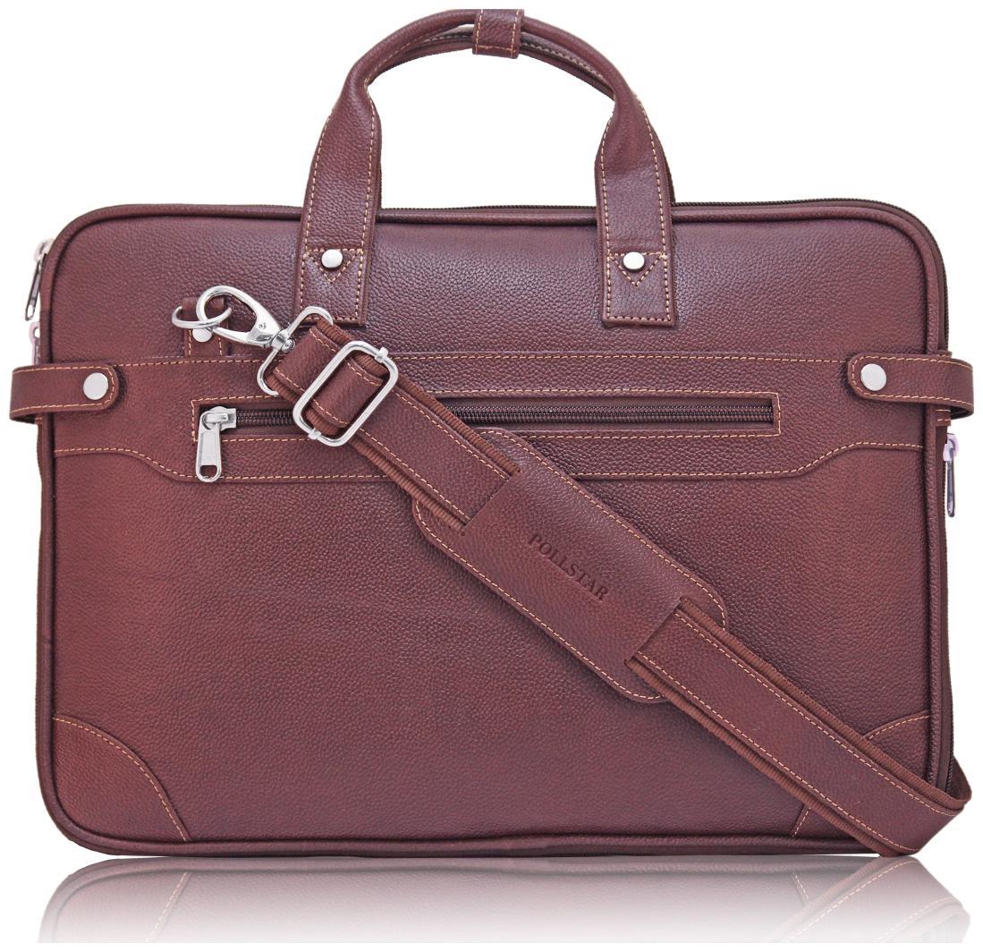 POLLSTAR Expandable Premium Leather 35.56 cm  14 inch  Laptop Messenger Bag  MB9999BN