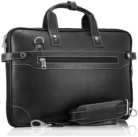 POLLSTAR Expandable Premium Leather office Bag (MB9999BK)