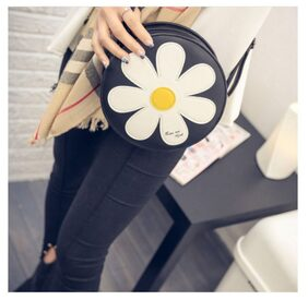 Popmode Sunshine Black White Flower Applique Girls Round Handbag Sling Bag Messenger Bag
