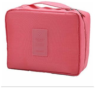 Portable Waterproof Multi Pouch Travel Toiletry Cosmetic Makeup Case Storage Bag With Handle (pink)