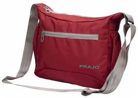 Prajo Polyester Men Sling Bag - Maroon