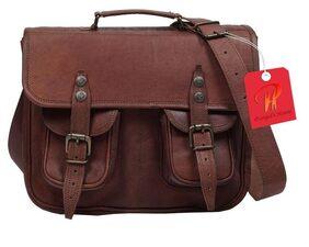 pranjals house genuine leather medium size office briefcase leather scatchel messenger bag size (L)13 (H)10 (W)4.5