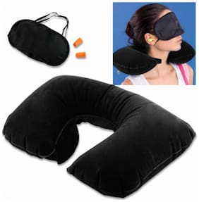Premium Quality 3 in 1 Travel kit Ear Bud's , Neck Pillow & Eye Shade  (Multicolor) 1Pc