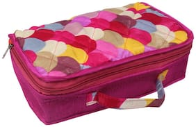 PrettyKrafts Women Fabric Vanity Case - Pink