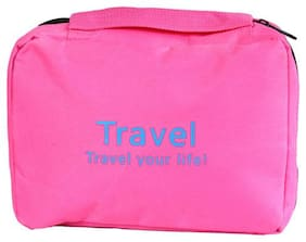 PrettyKrafts Pink Color Metty, Rexine Travel Accessories Bag