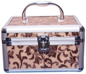 PRIDE STAR Women Faux Leather Vanity Case - Brown