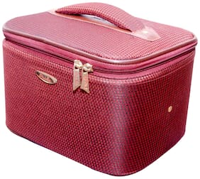 PRIDE STAR Women Faux Leather Vanity Case - Maroon