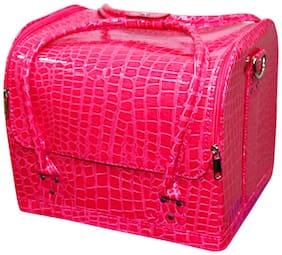 PRIDE STAR Women Leather Vanity Case - Pink