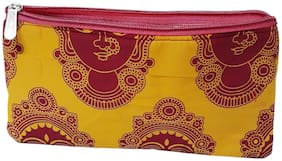 PRODUCTMINE Women Textured Cotton - Clutch Yellow & Red