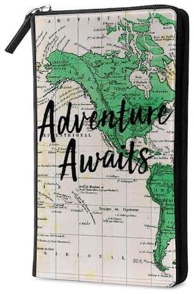 Qrioh Adventure Awaits Travel Multi Passport Holder Zipper Wallet