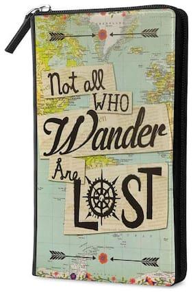 Qrioh Lost Directions Travel Multi Passport Holder Zipper Wallet