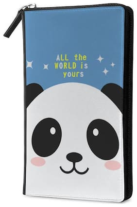 Qrioh Panda Travel Multi Passport Holder Zipper Wallet