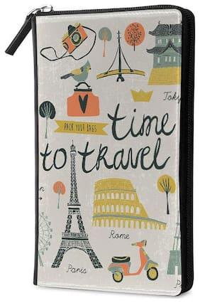 Qrioh Time To Travel Travel Multi Passport Holder Zipper Wallet