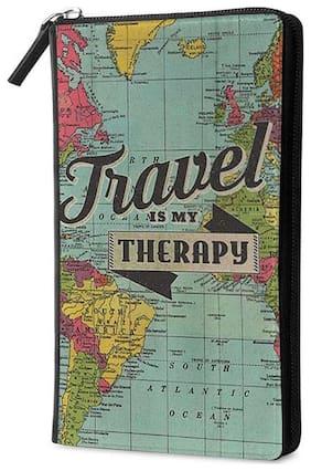Qrioh Travel Is My Therapy Travel Multi Passport Holder Zipper Wallet