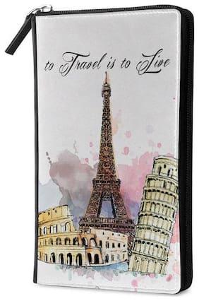 Qrioh Travel Is To Live Travel Multi Passport Holder Zipper Wallet