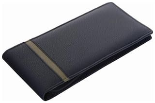 R K BLACK AND GREEN LEATHERITE CHEQUE BOOK HOLDER / DOCUMENT HOLDER