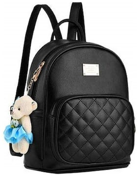 Raez Black PU Backpack
