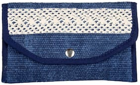 Blue Color Zip Pouch, Cosmetic Pouches, Women Pouch Handbag By Rajrang