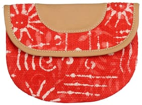 Red Color Zip Pouch, Cosmetic Pouches, Women Pouch Handbag By Rajrang