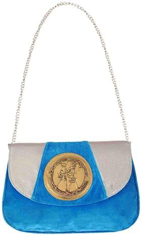 Ratash.Com Blue Velvet Sling Bag