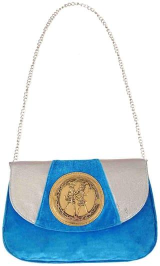 Ratash Women Solid Velvet - Sling Bag Blue