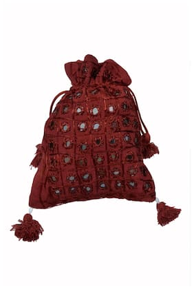 Ratash.Com Maroon Cotton Potli Bag